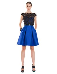 Theia Bow Applique Pleated A Line Dress Sapphire