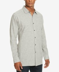 Kenneth Cole New York Men's Two Pocket Heathered Shirt Heather Grey Combo