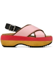 Marni Criss Cross Wedge Sandals Pink