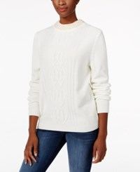Alfred Dunner Beaded Neck Chenille Sweater Ivory