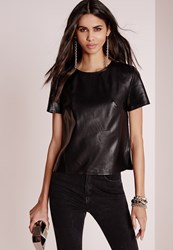Missguided Faux Leather T Shirt Black Black