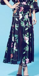 Piamita Calliope Box Pleated Floral Long Skirt