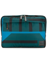 Marni Striped Clutch Bag Calf Leather Polyamide Green