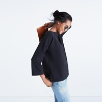 Madewell Crepe Boatneck Top Classic Black