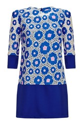 Almost Famous Floral Block Tunic Dress Blue