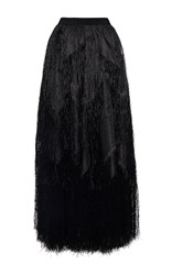 Maison Rabih Kayrouz Fringe Long Skirt Black