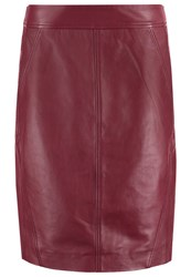 Comma Pencil Skirt Cranberry Dark Red
