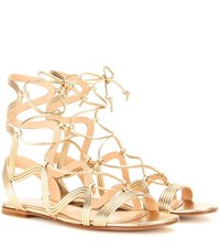 Gianvito Rossi Metallic Leather Gladiator Sandals Gold