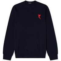 Raf Simons Embroidered Round Neck Knit Blue