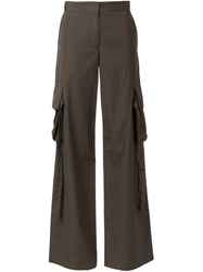 Helmut Lang Flared Cargo Pants Green