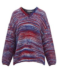 Vika Gazinskaya Oversized V Neck Knitted Sweater Blue Multi