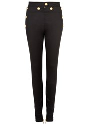 Balmain Black Skinny Cotton Blend Trousers