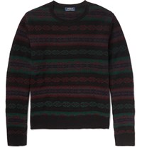 Polo Ralph Lauren Slim Fit Fair Isle Wool And Cashmere Blend Sweater Navy