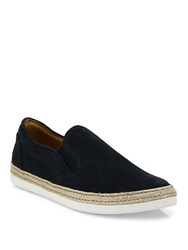 Saks Fifth Avenue Collection Espadrille Suede Slip On Sneakers Navy