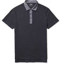 Todd Snyder Oxford Trimmed Slub Cotton Polo Shirt Charcoal