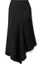 Anine Bing Bailey Asymmetric Silk Satin Midi Skirt Black
