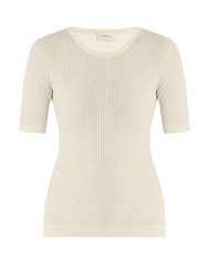 Christophe Lemaire Ribbed Knit Wool Sweater Cream