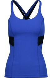 Purity Active Two Tone Mesh Trimmed Stretch Tank Bright Blue