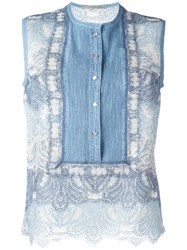 Ermanno Scervino Lace Tank Top Blue