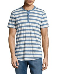 Kenneth Cole Striped Henley Tee Cadet Blue