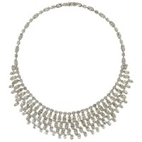 Eclectica Vintage 1960S Hobe Chrome Plated Diamante Navette Necklace Silver