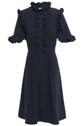 Mikael Aghal Woman Ruffle Trimmed Pintucked Cady Dress Navy