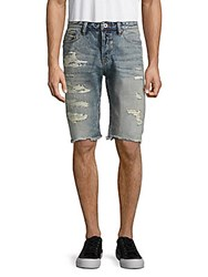 Cult Of Individuality Logan Frayed Cuff Distressed Denim Shorts Dusty