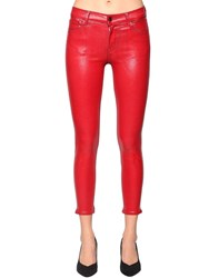 J Brand Skinny Capri Mid Rise Coated Denim Jeans Red