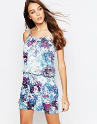See U Soon Tank Dress In Marbled Floral Print Blue