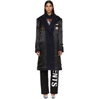 Vetements Black And Navy Oversized Inside Out Coat