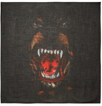 Givenchy Rottweiler Printed Cashmere And Silk Blend Scarf Black