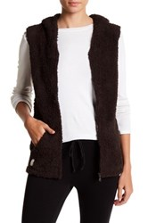 Barefoot Dreams Cozy Chic Sleeveless Hoodie Brown