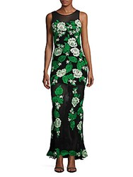 Basix Black Label Floral Embroidered Sheath Gown Green