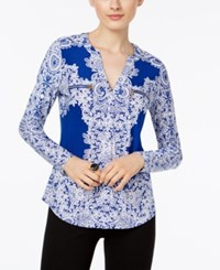 Inc International Concepts Printed Zip Pocket Top Only At Macy's Goddess Blue