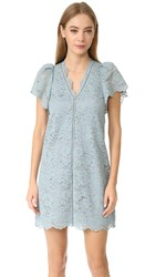 Rebecca Taylor V Neck Lace Dress Glacier