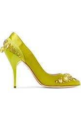 Oscar De La Renta Faya Crystal Embellished Satin Pumps Green