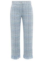 Balmain Tweed Straight Leg Trousers Blue White