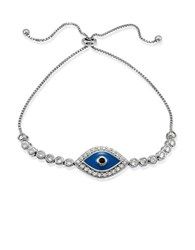 Lord And Taylor Sterling Silver Cubic Zirconia Evil Eye Bracelet Blue