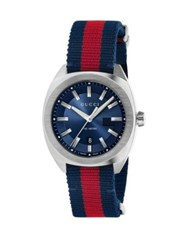 Gucci Stainless Steel And Nylon Web Watch Blue