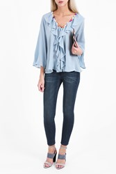 Paul Joe Women S Jelly Chiffon Ruffled Shirt Boutique1 Blue