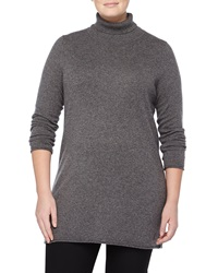 Neiman Marcus Cashmere Rolled Trim Turtleneck Tunic Gray