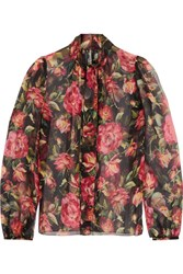 Dolce And Gabbana Rose Pussy Bow Printed Silk Chiffon Blouse Pink