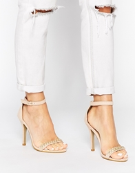 London Rebel Chain Barely There Heeled Sandals Nude