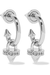 Eddie Borgo Silver Plated Stone And Crystal Hoop Earrings