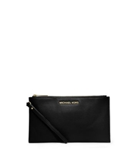 Michael Kors Bedford Large Leather Zip Clutch Black