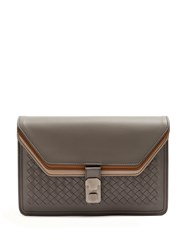 Bottega Veneta Triple Flap Intrecciato Leather Document Holder Grey Multi