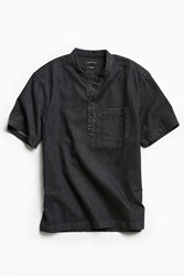 Urban Outfitters Uo Denim Band Collar Short Sleeve Popover Shirt Black