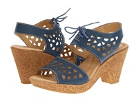 Spring Step Lamay Blue Leather Women's Wedge Shoes