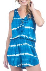 Green Dragon Women's Tie Dye Cover Up Romper Royal
