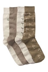 Tommy Bahama Relax Palm Crew Socks Pack Of 4 Beige